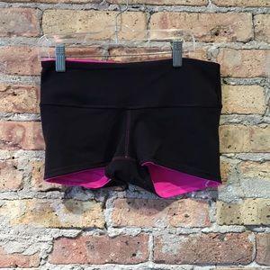 lululemon athletica Shorts - Lululemon pink & black spandex shorts sz 6 56529